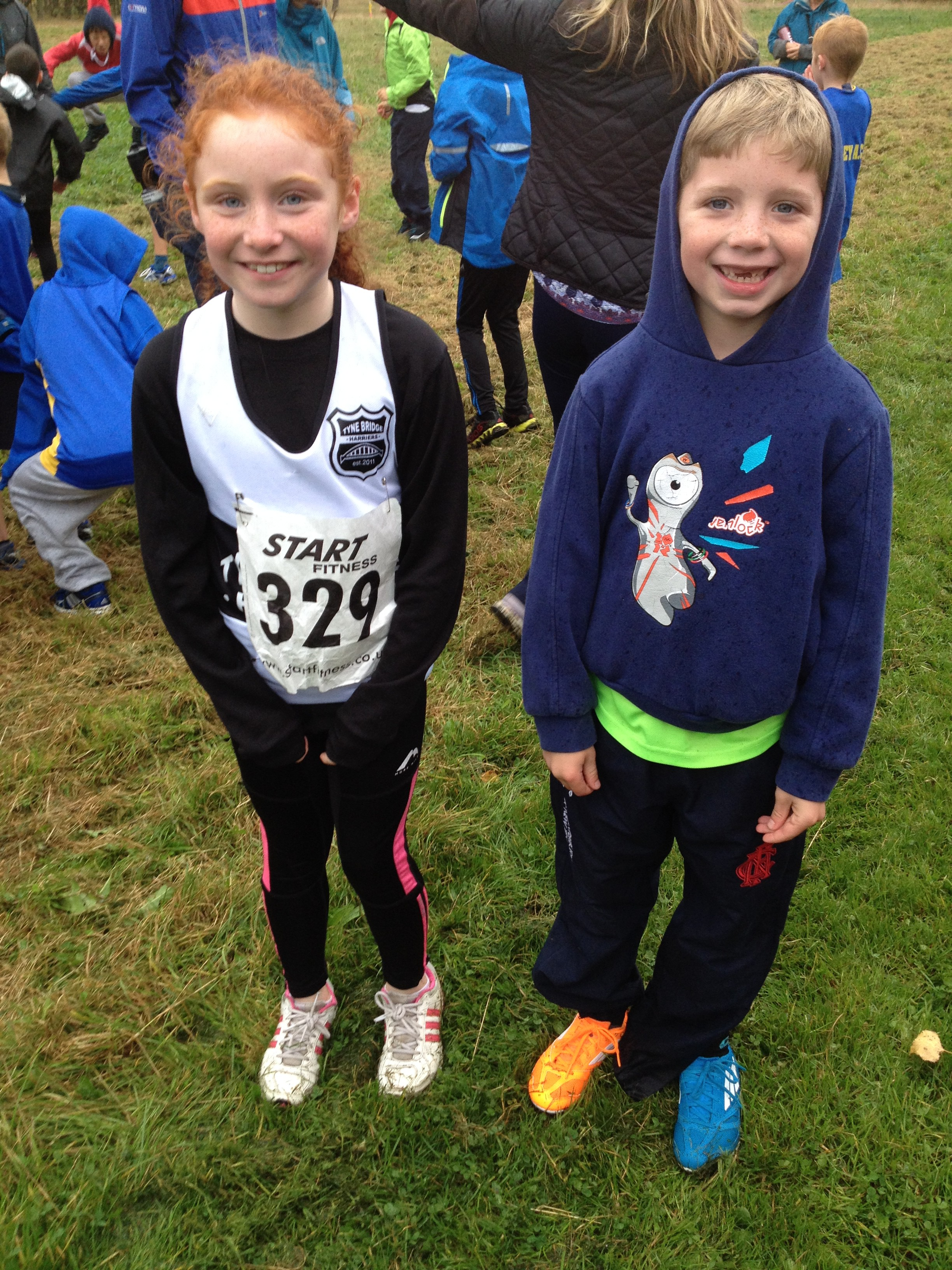 Millie and Jake. (Hopefully Jake will wear matching shoes next time  <img src='http://www.tynebridgeharriers.com/juniors/wp-content/plugins/wp-monalisa/icons/wpml_wink.gif' alt=';-)' width='20' height='20' class='wpml_ico' />  )