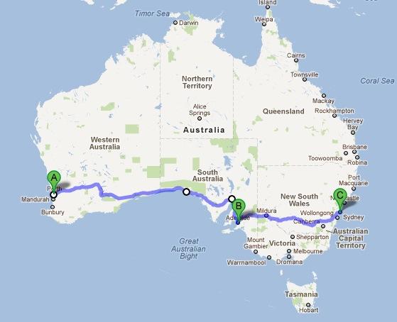 Mark's route across Australia