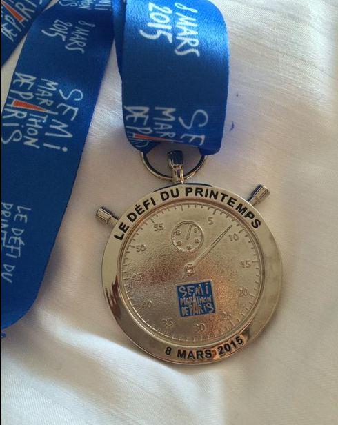 Melissa's finisher's medal.